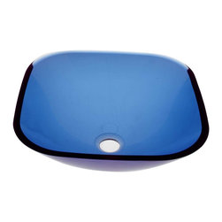 Renovators Supply - Vessel Sinks Square Vessel Sink Blue Glass 16 1/4'' sq. - Square Sinks, Glass Vessel Sinks: Single Layer Tempered glass sinks are five times stronger than glass, 1/2 inch thick, withstand up to 350 F degrees,  can resist moderate to high degrees of impact & are stain��_��__��_��__��_��__proof. Ready to install this package includes FREE 100% solid brass chrome-plated pop-up drain, FREE machined 100% solid brass chrome-plated mounting ring & silicone gasket.  Measures 16 1/4 in. L x 16 1/4 in. W x 5 1/2 in. deep. x 1/2 in. thick.