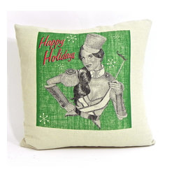 reStyled by Valerie Home - Katy Perry Christmas Pillow, Holiday Throw Pillow, Decorative Christmas Pillow - Give your holiday decor a trendy update with this Katy Perry Christmas pillow. Featuring a screen-printed original illustration by Nick Williams of the pop star dressed as a nutcracker-style soldier, this whimsical linen accent pillow is sure to make you roar.
