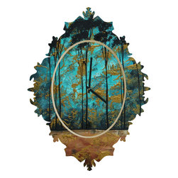 DENY Designs - Madart Inc. Parting Of Ways 1 Baroque Clock - it's about time to check out the baroque clock collection! With a sleek mix of baltic birch ply trim that's unique to each piece and a glossy aluminum face, this baroque clock is gonna turn up the fancy on that plain Jane wall of yours.