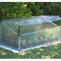 "Poly-Tex, Inc. - Cold Frame - Single Greenhouse - The Cold Frame Single is a miniature greenhouse that will allow you to get a jump on the growing season. It is 41"" wide and 22"" deep. Grow in your containers or directly in the soil. The clear, adjustable polycarbonate cover will provide maximum light and just the right amount of ventilation. Insulated polycarbonate sidewalls will protect your tender seedlings during cool nights."