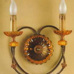 Artistica - Hand Made in Italy - Alba Lamp: Wall Light Sconce - Rust/Amber Crystal - Alba Lamp Collection: