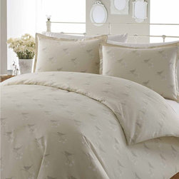 Laura Ashley - Laura Ashley Nightingale Cotton Duvet Cover Set - The Nightingale duvet cover set is decorated with a trendy bird motif to give your bedroom a boost of breezy style. Designed with a neutral color scheme,this machine washable duvet cover and shams are crafted with soft cotton.