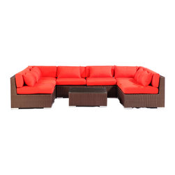 "Kardiel - Modify-It Outdoor Garden Furniture Modern Sofa Chaise Lounge Oahu 9-pc Set, Red - The Oahu 9-piece all in one entertaining suite provides ample seating w/ a combination of both left & right sofa sectionals. This ergonomic configuration allows larger groups the luxury of an intimate setting where conversation flows effortless. A tempered glass top coffee table placed in the center connects all elements of the classic modern style.  The flexible nature of Modify-It modular allows for customized reconfiguring of the layout at will. The design origins are Clean European. The elements of comfort are inspired by the relaxed style of the Hawaiian Islands. The Aloha series comes in many configurations, but all feature a minimalist frame and thick, ample modern cube cushions. The back cushions are consistent in shape, not tapered in to create the lean back angle. Rather the frame itself is specifically ""lean tapered"" allowing for a full cushion, thus a more comfortable lounging experience. The cushion stitch style utilizes smooth and clean hand tailoring, without extruding edge piping. The generously proportioned frame is hand-woven of colorfast, PE Resin wicker. The fabric is Season-Smart 100% Outdoor Polyester and resists mildew, fading and staining. The ability to modify configurations may tempt you to move the pieces around... a lot. No worries, Modify-It is manufactured with a strong but lightweight, rust proof Aluminum frame for easy handling."