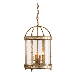 "Currey & Company - Currey & Company Harlow Silver Leaf Lantern - Vintage styling with a pleasing combination of materials make this four-light lantern unique. Inlaid antiqued mirror enhances an antiqued silver leaf framework. Seeded bent glass is the finishing touch that pulls it all together.  The lantern is made with wrought iron with a Harlow silver leaf finish and mirrored accents.  It takes four 60 watt max bulbs (BULBS ARE NOT INCLUDED) and measures 13"" in diameter X 21""H."