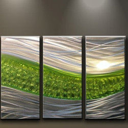 Matthew's Art Gallery - Metal Wall Art Abstract Modern Sculpture Silver Green Path - Name: Green Path