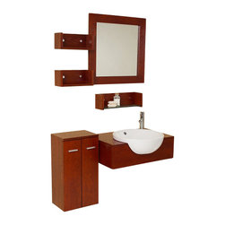 Fresca - Fresca FVN3520 Stile Modern Bathroom Vanity With Mirror & Side Cabinet - Fresca FVN3520 Stile Modern Bathroom Vanity With Mirror & Side Cabinet