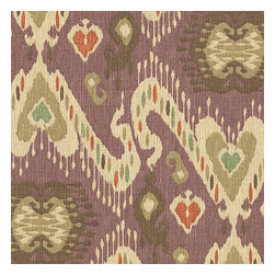 Purple, Taupe & Orange Ikat Fabric - Colorful eclectic ikat cotton print in lilac with touches of mint, orange, & beige.Recover your chair. Upholster a wall. Create a framed piece of art. Sew your own home accent. Whatever your decorating project, Loom's gorgeous, designer fabrics by the yard are up to the challenge!