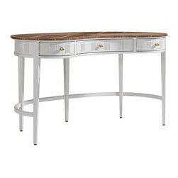 Stanley Furniture - Charleston Regency-Pinckney Kidney Desk - The graceful curvature of the Pinckney Kidney Desk's bentwood stretcher telegraphs beautifully in our Ropemakers White finish. Below the Clear Walnut top are three fully extending drawers encased in an apron detailed with dot and quirk carving.