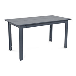 Loll Designs - Fresh Air Table 58, Charcoal Grey - Fresh air is as important as healthy food and good friends and when all three coalesce there is something special that occurs. We named our Fresh Air Collection after just that. The clean lines and unique joinery make this a perfect table and bench for modern outdoor spaces. The bench has angled seat slats for a comfortable sit that won't allow water to pool on top. Made with half inch thick recycled plastic, both the table and bench are easy to move around and heavy enough to stay put in a gusty wind. The Fresh Air table and bench are sized perfectly for four even when two is really all you need.