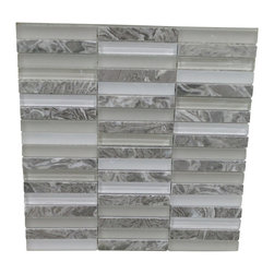 GL Stone Ltd - Random Strip Marble and Glass Mosaic Tiles, Grey, 1 Carton, 11 Sheets / 11 SqFt - Random Grey Strip Marble and Glossy Glass Mosaic Tile is a great way to enhance your decor with a traditional aesthetic touch. This Mosaic Tile is constructed from durable, impervious Marble & Glass material, comes in a glossy and forest finish glass and is suitable for installation on walls in commercial and residential spaces such as bathrooms ,floor tile, and kitchen backsplash.