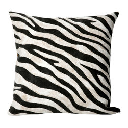 """Trans-Ocean - 20""""x20"""" Visions I Zebra Black Pillow - The highly detailed painterly effect is achieved by Liora Manne's patented Lamontage process which combines hand crafted art with cutting edge technology.These pillows are made with 100% polyester microfiber for an extra soft hand, and a 100% Polyester Insert.Liora Manne's pillows are suitable for Indoors or Outdoors, are antimicrobial, have a removable cover with a zipper closure for easy-care, and are handwashable. Made in USA."""