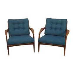 """Used Milo Baughman """"Archie"""" Lounge Chairs - A pair of rare low back """"archie"""" lounge chairs by Milo Baughman for Thayer Coggin. An amazing pair of accent chairs for any Mid-Century style home!"""
