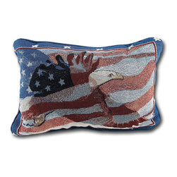 Manual - A Soldiers Prayer/American Flag Reversible Tapestry Accent Pillow - This woven tapestry accent pillow adds a patriotic accent and a prayer to any room in your home. One side features a waving American flag and a bald eagle in flight, and the reverse side is printed with a soldier's prayer. It is a polyester cotton blend, filled with polyester stuffing, and measures 12 1/2 inches long by 8 1/2 inches high. Recommended care instructions are to spot clean or dry clean, only. It is a timeless accent to your home, and it makes a great gift for service members. This pillow was proudly made in the U.S.A.