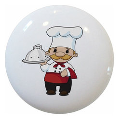 Carolina Hardware and Decor, LLC - Chef Baker Ceramic Kitchen Knob - 1 1/2 inch white ceramic knob with one inch mounting hardware included.   Great as a cabinet, drawer, or furniture knob.  Adds a nice finishing touch to any room!