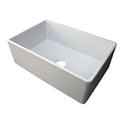 "ALFI brand - White 30"" Contemporary Smooth Fireclay Farmhouse Kitchen Sink - ALFI brand fireclay farm sinks are a throwback to a simpler time. Designed to offer the traditional popular look of an apron farm sink with a contemporary twist. Made of the highest quality solid fireclay to insure it not only looks great but also lasts for a very long time."