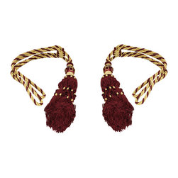ecWorld - India Imported Burgundy & Gold Drapery Window Curtain Tassel Tie-Back Set - Accent your curtains with this beautiful drapery window curtain tassel tie-back set!