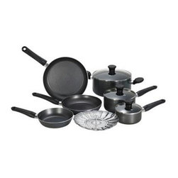 "T-Fal/Wearever - T-Fal Initiatives 10 Pc. Cookware Grey - T-Fal 10-piece Initiatives Non-Stick Cookware Set in grey includes 8"", 9.5"" and 11"" fry pans, 1 and 2 qt. covered sauce pans, 5 qt. covered Dutch oven and vegetable steamer. Great for college students, this 10 piece cookware set comes with everything a home chef needs to get started."