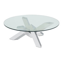 Nuevo Living - Costa Coffee Table - Treat your favorite setting to a work of modern art. The sculptural base of this piece, made of polished stainless steel, is truly dynamic, while the round tempered-glass surface makes for a welcoming vibe.