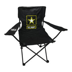 Zeckos - U.S. Army Folding Camping Chair Camp - This super cool United States Army folding camp chair has a heavy duty steel frame and a heavy 600 denier nylon seat to give you years of use. The chair holds up to 275 pounds easily, and has hard plastic feet to keep you sturdy. The feet have holes in the bottoms, so you can keep it in place with tent stakes if you wish. The chair measures 32 1/2 inches tall, 32 inches wide and 19 inches deep. This folding camp chair is brand new, never used, and makes a great gift for any current or former soldier.