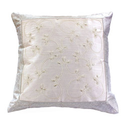Banarsi Designs - Hand Embroidered Pillow Cover, Set of 2, Snow White - Discover our exclusive and unique Hand Embroidered pillow cover collection from Banarsi Designs. This set of pillow covers incorporates hand embroidery and features radiant and expressive tones. These decorative pillow covers measure 16x16 inches and are sold as a pair. Made in India.