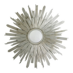 Kathy Kuo Home - Galaxy Modern Deco Silver Starburst Rays Mirror - When it comes to sunburst mirrors, it just doesn't get any more classic than this.  This deco silver sunburst makes all the right moves, evoking Parisian apartments and the  reign of the Sun King with ease.  From traditional to deco and beyond…here comes the sun(burst)!