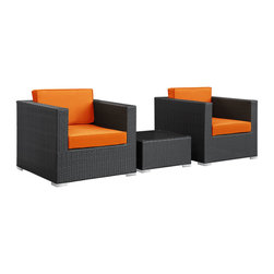 Burrow 3-Piece Outdoor Patio Sectional Set - Enter your personal zone for two with the Burrow outdoor rattan patio set. Easily interchangeable to match the finer needs of your gatherings, Burrow delivers a confidential sphere for both business meetings or personal get-togethers. A tempered glass topped table is perfectly sized for electronic devices or fine dining for two.