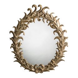 Arteriors - Quetzal Mirror - Bring a bit of the Yucatan to your favorite setting with this wall mirror. The lively feather and clamshell motif, unique to the design of the region, is cast in resin and then finished with metallic leaf.