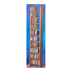 Wood Shed - 10 Row Dowel Tower CD Rack (Unfinished) - Finish: UnfinishedCapacity: 260 CD's. Made from solid oak. Honey oak finish. 12.25 in. W x 10 in. D x 67 in. H