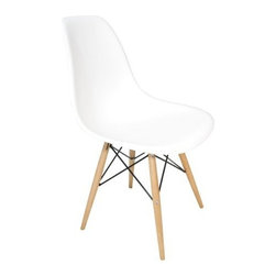 Ariel - Eames Style Molded White Plastic Dining Shell Chair W/ Wood Eiffel Legs - A truly comfortable chair, the shell dining chair sports a futuristic yet retro look at the same time. Constructed of heavy duty matte finish seats, this stylish chair is perfect for the home office, training room, or play area. Available in white, black, or light blue.