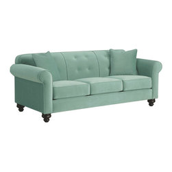 Apt2B - Pico Tufted Back Sofa, 60's Blue - The Pico Collection has something that's hard to find: classic elegance that works perfectly in a modern setting. Between the unique stitching, tufted accents of the back cushion, and old school legs, this collection gives new school flavor to a well known look.