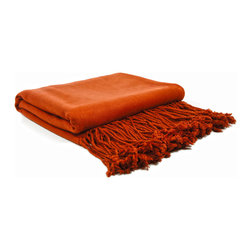 "Pur by Pur Cashmere - Signature Blend Throw Terra Cotta  50""x65"" With 6"" Fringe - Bamboo velvet throw. 100%  bamboo.  Dry clean only. Inner mongolia."