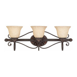 TRIARCH INTERNATIONAL - Triarch International Jewelry Harvest Bronze 3-light  Bathroom Fixture - Setting: Indoor  Fixture finish: Harvest bronze Dimensions: 10 inches high x 29 inches wide x  8 inch extention from wall