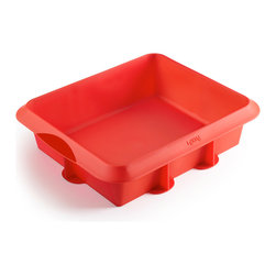 "Lekue 8"" x 9.5"" Silicone Square Cake Pan - The Lekue classic 8-inch x 9-inch rectangular cake mold is flexible non stick and cleans up easily. The special design and reinforced structure make transportation easy and the molds more stable. Constructed of 100% platinum silicone"