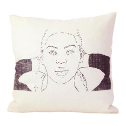reStyled by Valerie - Beyonce Pop Culture Decor Pillow, Modern Pillow Cushion - Here's a playful pillow that's not just for the single ladies. Rejuvenate your living room or bedroom with this contemporary accent pillow featuring a screen-printed sketch of pop diva Beyoncé by artist Christabel Dunham.