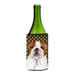 Caroline's Treasures - Bulldog English Candy Corn Halloween Portrait Wine Bottle Koozie Hugger - Bulldog English Candy Corn Halloween Portrait Wine Bottle Koozie Hugger SS4277LITERK Fits 750 ml. wine or other beverage bottles. Fits 24 oz. cans or pint bottles. Great collapsible koozie for large cans of beer, Energy Drinks or large Iced Tea beverages. Great to keep track of your beverage and add a bit of flair to a gathering. Wash the hugger in your washing machine. Design will not come off.