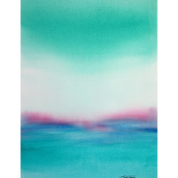 "Turquoise Seascape - ""Turquoise Seascape"" is an Abstract Original Painting by Laura Trevey. Splashes of seafoam green, turquoise and aqua, with a pop of pink!"