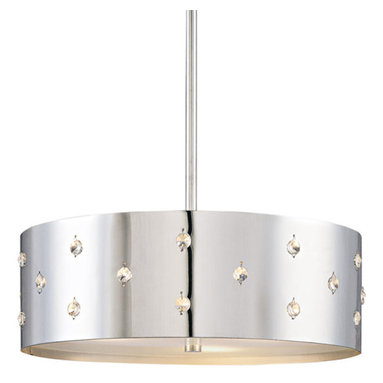Bling Bling Suspension by George Kovacs - Bling Bling pendant features a perforated steel shade with crystal accents and a chrome finish. Features bottom diffuser. Available in a small and large size option. Also available in a pendant, suspension, wall sconce, ceiling flush and semi-flush ceiling mount. General light distribution. Small: 14 inch diameter x 12.5 inch height x shade height 4.5 inch and requires three 60 watt 120 volt A19 medium base incandescent lamps not included. Large: 22 inch diameter x 17 inch height x shade height 9.5 inch and requires four 100 watt 120 volt A19 medium base incandescent lamps not included.