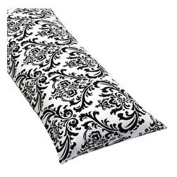 Sweet Jojo Designs - Isabella Hot Pink, Black and White Damask Body Pillow Cover - The Isabella Hot Pink, Black and White Damask Body Pillow Cover (pillow not included) by Sweet Jojo Designs, along with the  bedding accessories.