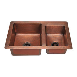 """MR Direct - Double Offset Bowl Copper Sink - The 901 offset double bowl undermount sink is made from 99% pure-mined copper. It is comprised using one piece construction, giving you a very strong and durable copper sink. Since copper is naturally anti-bacterial and stain resistant, it is great for busy households that benefit from low-maintenance materials. The hammered finish looks great and provides a mask for small scratches that may appear over time. The overall dimensions of the 901 are  and a 33"""" minimum cabinet size is required. The sink contains a centered 3 1/2"""" drain opening and copper strainers and flanges are available. The hand-crafted copper details are sure to add warmth and richness to any decor."""