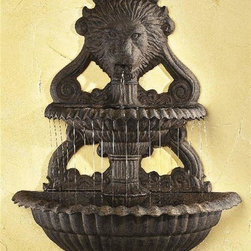 Ladybug - 2 Pc Lion Wall Fountain in Wrought Iron - Includes pump and tubing. Weather resistant finish. Wall-mounted. 1-Year warranty. Made in the USA. Made of pecan shell resin. 23 in. W x 10.50 in. D x 30 in. H (25 lbs.)The finishes are applied by hand, enhancing every detail, and resulting in the uniqueness of no two pieces being exactly alike. Each individually hand-crafted piece of Ladybug product is cast in a crushed marble or resin composition which has the ability to capture and reproduce the same definition and minute detail as the original. It is a substantial, non-porous material which does not absorb moisture, making it ideal for outdoor use, although it offers the strength and durability required to endure even extreme weather conditions.