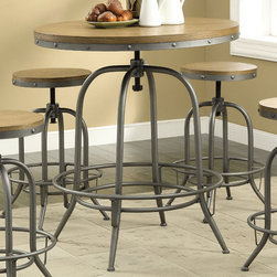 Coaster - Adjustable Bar Table, Antique Black - Offering the perfect blend of elegant simplicity and transitional functionality, this round bar table will be a nice addition to any dining or entertaining room. Featuring a distressed wood table top and a contrasting metal base in an antique black finish with decorative bolt accents and a round footrest for support. Matching bar stools also feature distressed wood seating, a metal base and a round foot rest. This bar table and stools also adjust in height for your convenience! Each piece has a turn lock to ensure a secure position.