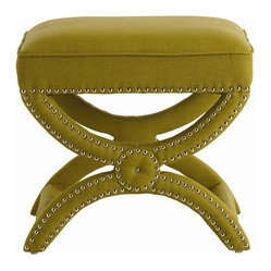 Arteriors Home Tennyson Pistachio Linen Stool with Nickel Studs