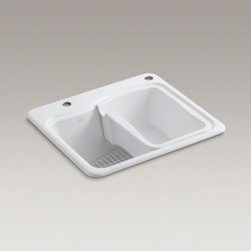 KOHLER - KOHLER River Falls(TM) top-mount utility sink with 2 faucet holes - one-hole on - Get the job done more quickly with the River Falls utility sink. Designed to handle all household laundry and cleanup tasks, this durable sink has an extra-deep basin, an integral washboard, and space to add a built-in soap or lotion dispenser. A soaking pan and wire rack are included to provide moveable work areas for soaking, spot treating, and other laundry tasks. Crafted from enameled cast iron, this sink resists scratching, burning, and staining for years of beauty and reliable performance.