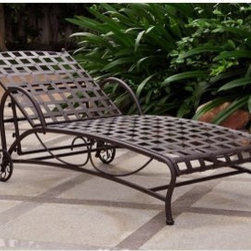 International Caravan Santa Fe Wrought Iron Multi Position Single Outdoor Chaise - Getting comfortable should never be a problem with the Santa Fe Wrought Iron Multi Position Single Outdoor Chaise Lounge. Constructed from durable wrought iron this outdoor chaise lounge adjusts to five different positions to offer maximum comfort. The lounge features an antique bronze finish with weatherproof rust protection so it's guaranteed to last. The lounge includes a 30-day warranty. Weight: 55 pounds. Dimensions: 73L x 26W x 14.5H inches.