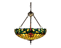 "Meyda Tiffany - 18""W Duffner & Kimberly Colonial Inverted Pendant - Flourishes of Merlot colored stained glass accent the Emerald Green scrolls and Sea Blue accents on warm Ivory in this Duffner & Kimberly reproduction shade. The Tiffany style handcrafted shade is suspended from hand finished hardware in a Mahogany Bronze."