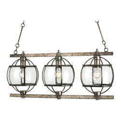 Kathy Kuo Home - Brompton Industrial Loft Bronze Iron Glass 3 Light Island Pendant - uq