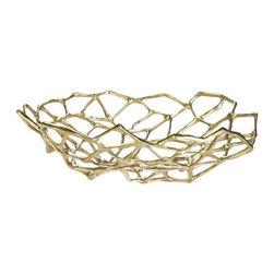 Tom Dixon - Tom Dixon | Bone Large Bowl - Design by Tom Dixon, 2014. A sculptural bowl for the table top that functions as an ideal fruit bowl or a decorative centerpiece. The Bone Large Bowl offered by Tom Dixon, made from solid brass with a matte finish, each stand is shaped into an intricate lattice form. Bearing a bone-like quality, it is cast from a solid piece of brass, left unlacquered.