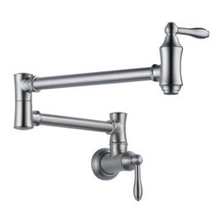 """Delta - Delta 1177LF-AR Arctic Stainless Pot Filler Pot Filler Faucet Wall - Product Features:  Designed to be installed adjacent to the stove top, such that pots can be filled while on a burner. Pot fillers are a notoriously classy touch to any well-planned kitchen 4 gallon-per-minute flow rate fills pots twice as fast as traditional kitchen faucets Timeless design combined with the latest technology Dual swing joints with approximately 24"""" extension Dual shut off valves Simple, elegant lines complement traditional decor Simple on and off with a quarter turn of the handle ADA compliant Low lead compliant - complies with federal and state regulations for lead content Extra secure mounting assembly All neccesary mounting hardware included  About Delta: Delta is more than just a brand of kitchen and bathroom faucets. It's a name that represents what's possible in today's plumbing technologies. Every kitchen and bathroom in every home is unique, and with a wide range of pricing and features, Delta faucets and fixtures can meet every need. Delta is driven by its quest for innovation—and this applies to its kitchen and bathroom faucets and fixtures. From Touch2O technology (which turns the faucet on and off with just a touch) and MagnaTite technology (which eliminates droopy pull-down spray heads), to H2Okinetic showers (for a warmer and more luxurious shower experience), your life is simplified through innovations. And if you're searching for a product to offer an eye-catching focal point, while providing durability and reliability for a lifetime, look no further than Delta. From extremely affordable and reliable faucets to fully loaded fixtures featuring today's leading technologies, Delta has a faucet for everyone."""
