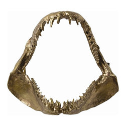 Arteriors - Kanye Jaws - A cast aluminum jaw sculpture in antique brass. One of our favorite Dallas clothing boutiques hung six of these in a row in the men's department... very impactful. Features keyhole hangers.