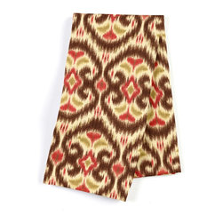 Brown & Red Ikat Custom Napkin Set - Our Custom Napkins are sure to round out the perfect table setting'whether you're looking to liven up the kitchen or wow your next dinner party. We love it in this bold brown, red & curry yellow eclectic ikat on textured cream cotton. the spicy, bustling bazaar brought home to you!